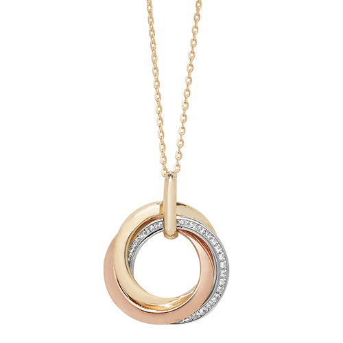 9K Tri Col Gold Ladies' 18 Inch Necklace