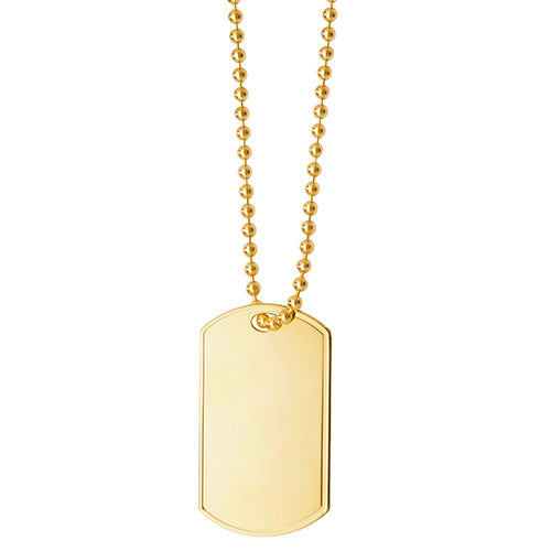 9K Yellow Gold 24 Inches Dog Tag & Chain