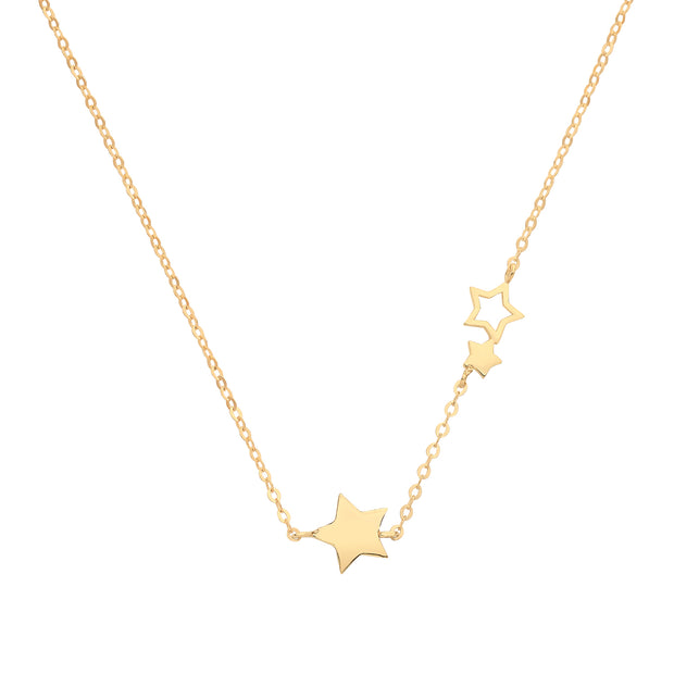 9K Yellow Gold Trail Of Stars Necklace