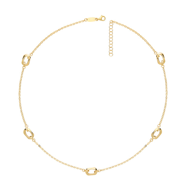9K Yellow Gold Hexagon Necklace
