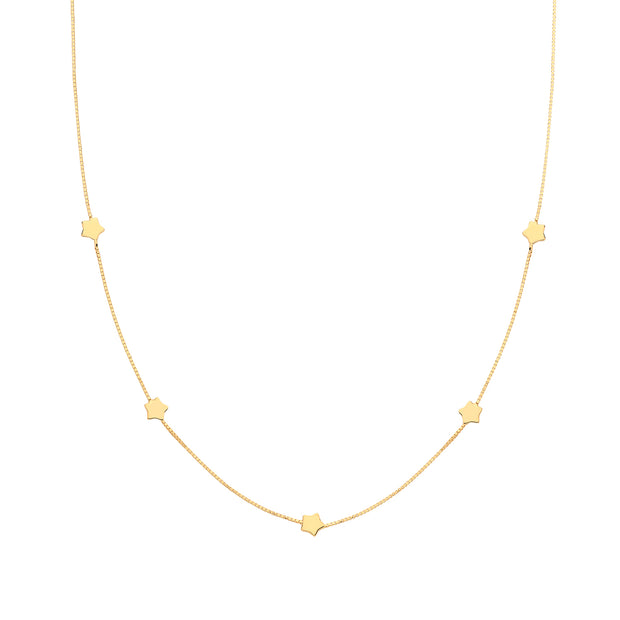 9K Yellow Gold Star Necklace
