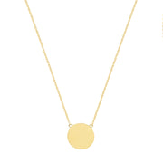 9K Yellow Gold Round Disc Necklace
