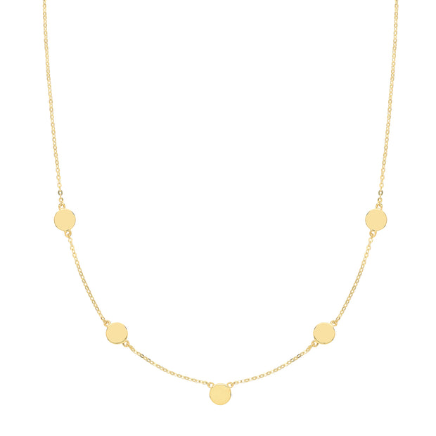 9K Yellow Gold Disc Necklace