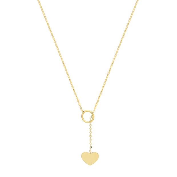 9K Yellow Gold Open Circle & Heart Necklace