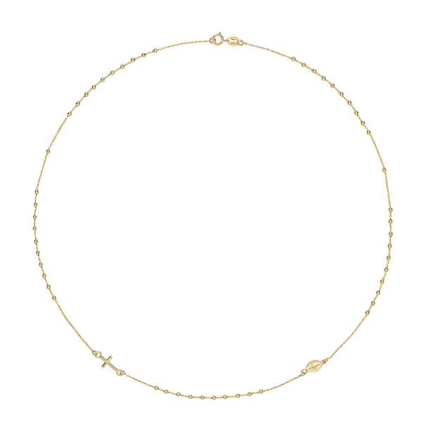 9K Yellow Gold Ladies' 16 Inches Rosary Necklace