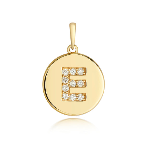 Initital E Diamond Pendant in 9K Gold