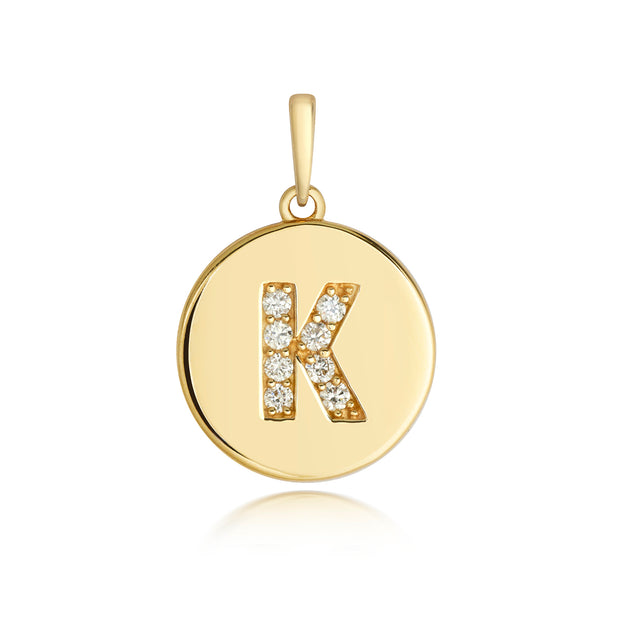 Initital K Diamond Pendant in 9K Gold