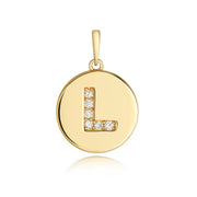 Initital L Diamond Pendant in 9K Gold