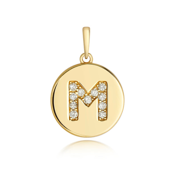 Initital M Diamond Pendant in 9K Gold