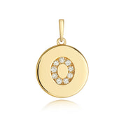 Initital O Diamond Pendant in 9K Gold