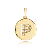 Initital P Diamond Pendant in 9K Gold