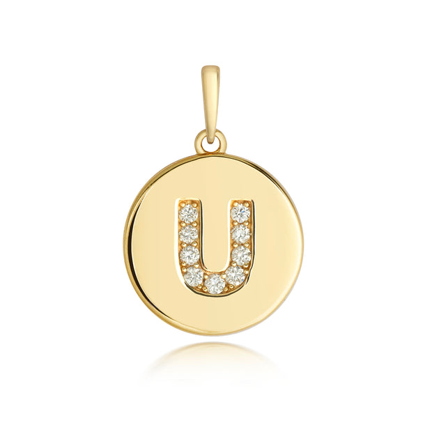 Initital U Diamond Pendant in 9K Gold