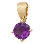 5MM Amethyst Pendant in 9K Gold