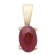 6X4MM Ruby Pendant in 9K Gold