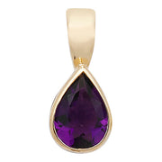 7X5MM Amethyst Pendant in 9K Gold