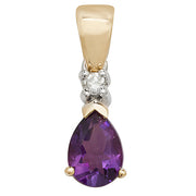 7X5MM Amethyat & Diamond Pendant in 9K Gold