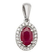 0.65ct Ruby Pendant in 9K White Gold