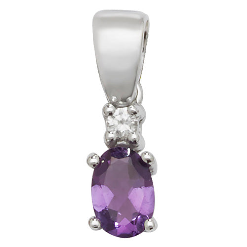 6X4MM Amethyat & Diamond Pendant in 9K Gold
