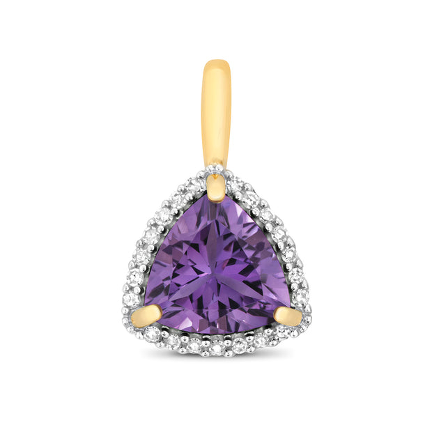 7X7MM Amethyst Pendant in 9K Gold