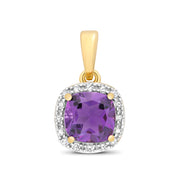 6X6MM Amethyst Pendant in 9K Gold