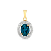 London Blue Topaz and Diamond Pendant in 9K Gold