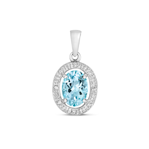 Aquamarine and Diamond Pendant in 9K White Gold