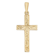 9K Yellow Gold Patterned Cross Pendant