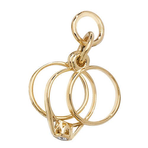 9K Yellow Gold 3 Rings Pendant