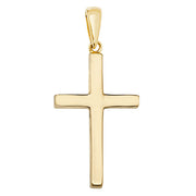 9K Yellow Gold Plain Solid Cross Pendant