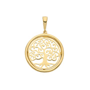 9K Yellow Gold Tree Of LifeRoundPendant