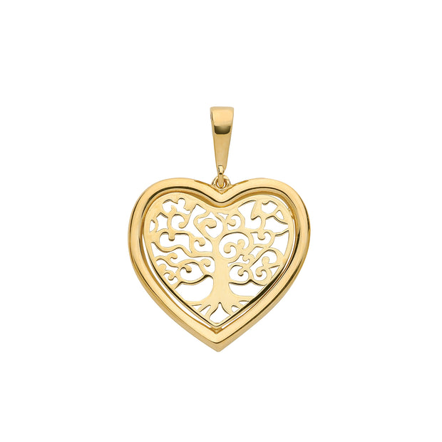 9K Yellow Gold Tree Of Life Heart Pendant