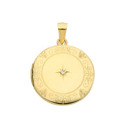 9K Yellow Gold Round Diamond Locket