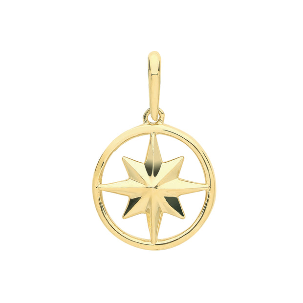 9K Yellow Gold Compass Rose Charm