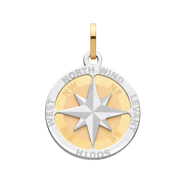 9K Yellow Gold Compass Rose Medium Pendant