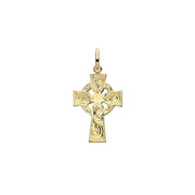 9K Yellow Gold Semi Solid Cross H Engraved