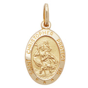 9K Yellow Gold Ovl St Christopher Pendant