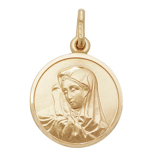 9K Yellow Gold Round Virgin Mary Pendant