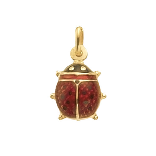 9K Yellow Gold Large Enamel Lady Bird Pendant
