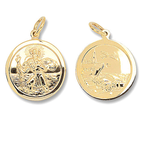 9K Yellow Gold Round Dbl Sided St Christopher Pendant