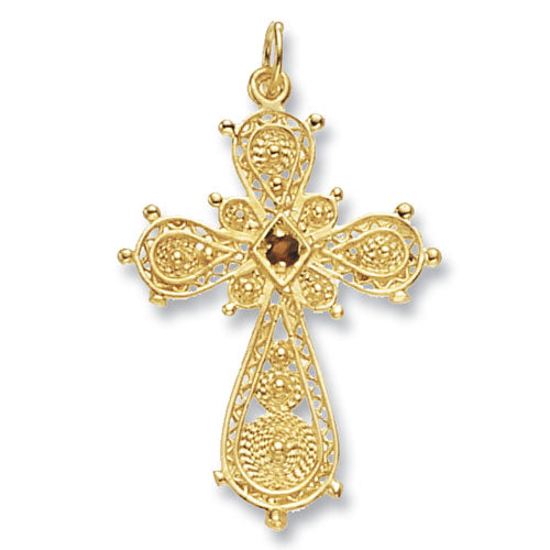 9K Yellow Gold Filigree Cross Pendant