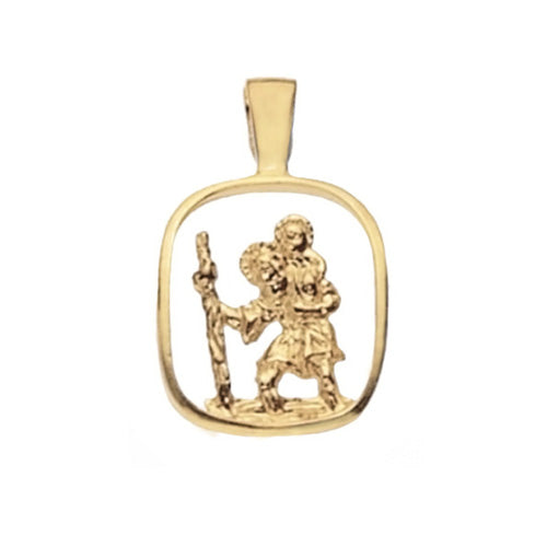 9K Yellow Gold St Christophecut Out Pendant