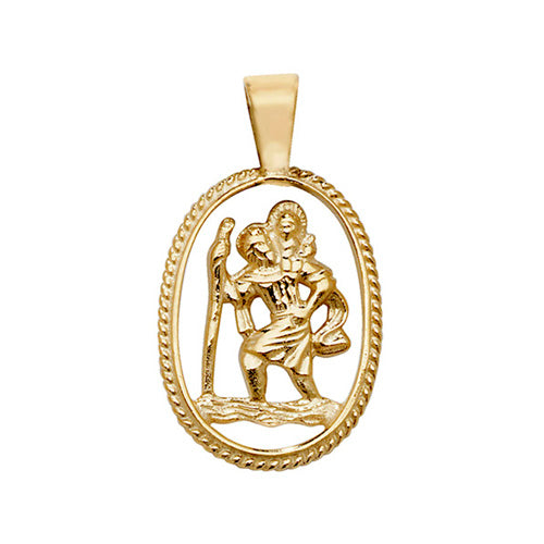 9K Yellow Gold St Christopher Cut Out Pendant