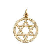 9K Yellow Gold Star Of David Pendant