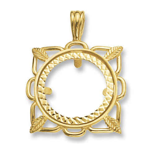 9K Yellow Gold Half Coin Mount Pendant