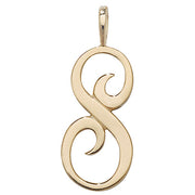 9K Yellow Gold Polished Script Initial Pendant