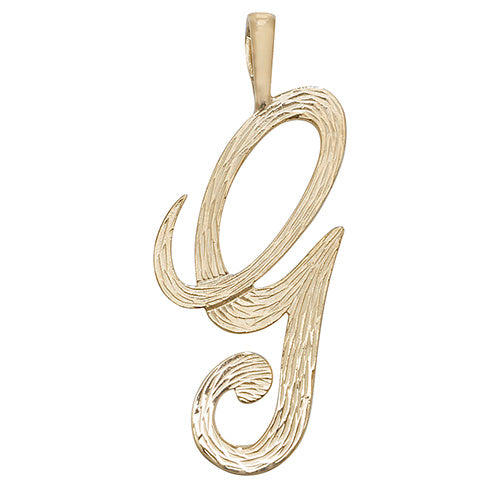 9K Yellow Gold Barked Script Initial Pendant
