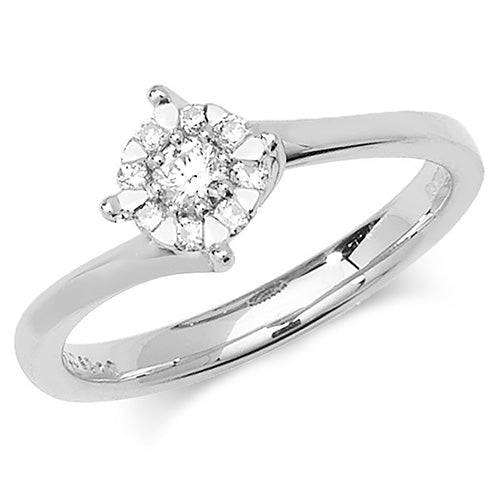 0.18ct Diamond Ring in 9K White Gold