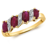 1.05ct Ruby  & 0.015ct Diamond Ring in 9K Gold
