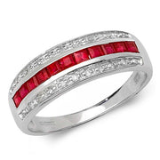 0.76ct Ruby Ring in 9K White Gold