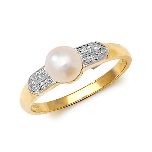 0.033ct Pearl Ring in 9K Gold